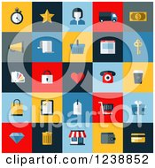 Clipart Of Colorful Retail And Commerce Icon Squares Royalty Free Vector Illustration by elena
