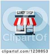 Candy Shop Building With An Awning On Blue