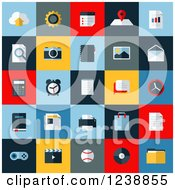 Clipart Of Colorful Media Computer Icon Squares Royalty Free Vector Illustration