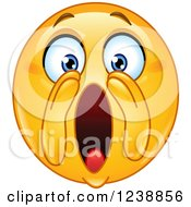 Clipart Of A Yellow Smiley Emoticon Shouting Royalty Free Vector Illustration