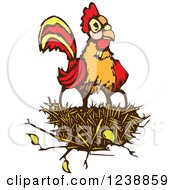 Clipart Of A Rooster Resting On Eggs In A Nest Royalty Free Vector Illustration by xunantunich