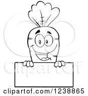 Clipart Of A Blakc And White Happy Carrot Over A Blank Sign Royalty Free Vector Illustration