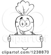 Clipart Of A Black And White Happy Carrot Holding A Blank Sign Royalty Free Vector Illustration