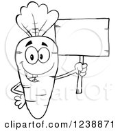 Clipart Of A Black And White Happy Carrot Holding A Blank Wooden Sign Royalty Free Vector Illustration