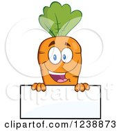 Clipart Of A Happy Orange Carrot Over A Blank Sign Royalty Free Vector Illustration