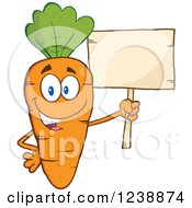 Clipart Of A Happy Orange Carrot Holding A Blank Wooden Sign Royalty Free Vector Illustration