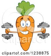 Clipart Of A Happy Orange Carrot Working Out With Dumbbells Royalty Free Vector Illustration