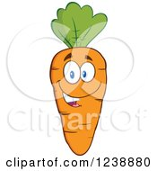 Clipart Of A Happy Orange Carrot Royalty Free Vector Illustration