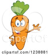 Clipart Of A Happy Orange Carrot Waving Royalty Free Vector Illustration