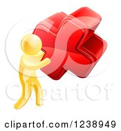 Clipart Of A 3d Gold Man Carrying A Giant Red Cross X Royalty Free Vector Illustration by AtStockIllustration