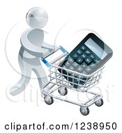 Clipart Of A 3d Silver Man Pushing A Calculator In A Shopping Cart Royalty Free Vector Illustration