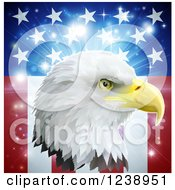 Clipart Of A Bald Eagle Head Over An American Burst With Stars And Stripes Royalty Free Vector Illustration
