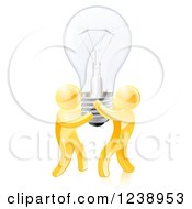 Clipart Of 3d Gold Men Holding Up A Lightbulb Royalty Free Vector Illustration by AtStockIllustration