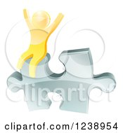 Poster, Art Print Of 3d Gold Man Cheering On A Silver Solution Puzzle Piece