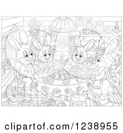 Clipart Of A Black And White Rabbit Family Having Cake In A Cabin On Easter Royalty Free Vector Illustration
