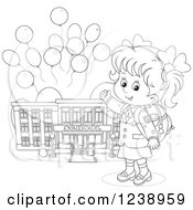 Clipart Of A Black And White School Girl Presenting A Building With Party Balloons Royalty Free Vector Illustration