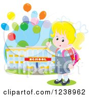 Clipart Of A Blond School Girl Presenting A Building With Party Balloons Royalty Free Vector Illustration