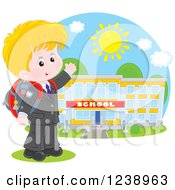 Clipart Of A Blond School Boy Presenting A Building On A Sunny Day Royalty Free Vector Illustration by Alex Bannykh