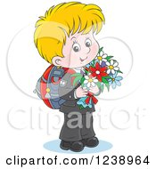 Clipart Of A Blond School Boy Carrying Flowers Royalty Free Vector Illustration