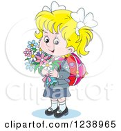 Clipart Of A Blond Caucasian School Girl Carrying Flowers Royalty Free Vector Illustration