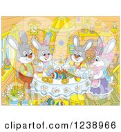 Clipart Of A Rabbit Family Having Cake In A Cabin On Easter Royalty Free Vector Illustration