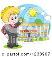 Clipart Of A Blond Caucasian School Boy Presenting A Building On A Sunny Day Royalty Free Vector Illustration