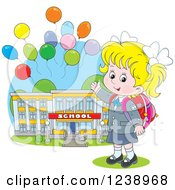 Clipart Of A Blond Caucasian School Girl Presenting A Building With Party Balloons Royalty Free Vector Illustration