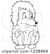 Clipart Of A Black And White Hedgehog Sitting And Touching His Knees Royalty Free Vector Illustration by dero