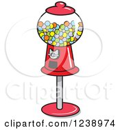 Clipart Of A Retro Red Gumball Machine Royalty Free Vector Illustration