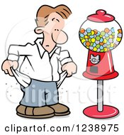 Clipart Of A Broke Caucasian Man Pulling Out His Pockets By A Gumball Machine Royalty Free Vector Illustration