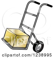 Clipart Of A Hand Truck Dolly With A Gold Dollar Box Royalty Free Vector Illustration
