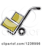 Clipart Of A Hand Truck Dolly With Gold Boxes Royalty Free Vector Illustration by Lal Perera