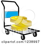 Clipart Of A Hand Truck Dolly With Gold Goins Royalty Free Vector Illustration by Lal Perera