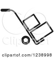Clipart Of A Black And White Hand Truck Dolly With Boxes Royalty Free Vector Illustration by Lal Perera