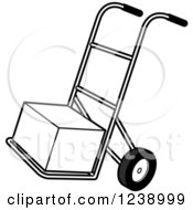 Clipart Of A Black And White Hand Truck Dolly With A Box Royalty Free Vector Illustration by Lal Perera