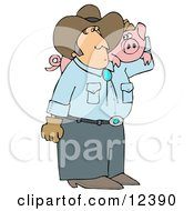 Male Farmer Carrying A Pet Pig On His Shoulder Clipart Illustration