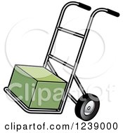 Clipart Of A Hand Truck Dolly With A Green Box Royalty Free Vector Illustration by Lal Perera