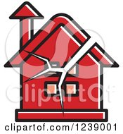 Clipart Of A Cracked Red House Royalty Free Vector Illustration