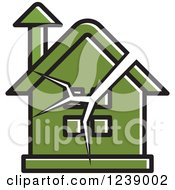 Clipart Of A Cracked Green House Royalty Free Vector Illustration