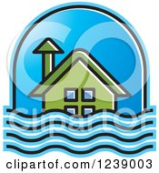 Clipart Of A Green House In Flood Waters Royalty Free Vector Illustration