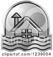 Clipart Of A Silver House In Flood Waters Royalty Free Vector Illustration by Lal Perera