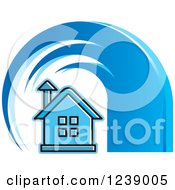Clipart Of A Blue Tsunami Wave Over A House Royalty Free Vector Illustration