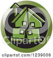 Clipart Of A Round Green Broken House Icon Royalty Free Vector Illustration