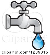 Clipart Of A Dripping Silver Faucet Royalty Free Vector Illustration