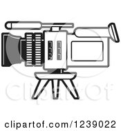 Clipart Of A Black And White Video Camera 2 Royalty Free Vector Illustration
