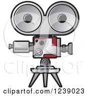 Clipart Of A Silver And Red Movie Camera Royalty Free Vector Illustration by Lal Perera