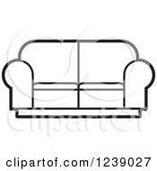 Clipart Of A Black And White Sofa 2 Royalty Free Vector Illustration by Lal Perera