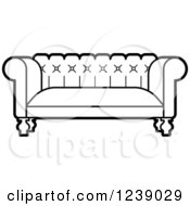 Clipart Of A Black And White Sofa 3 Royalty Free Vector Illustration