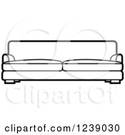 Clipart Of A Black And White Sofa 4 Royalty Free Vector Illustration by Lal Perera