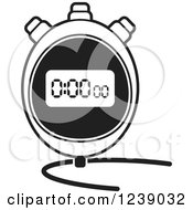 Clipart Of A Black And White Digital Stopwatch Royalty Free Vector Illustration by Lal Perera
